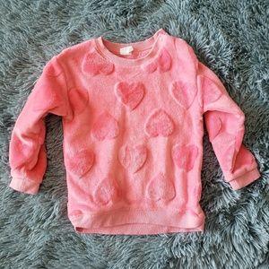 Girls Fuzzy Pink Heart Sweater